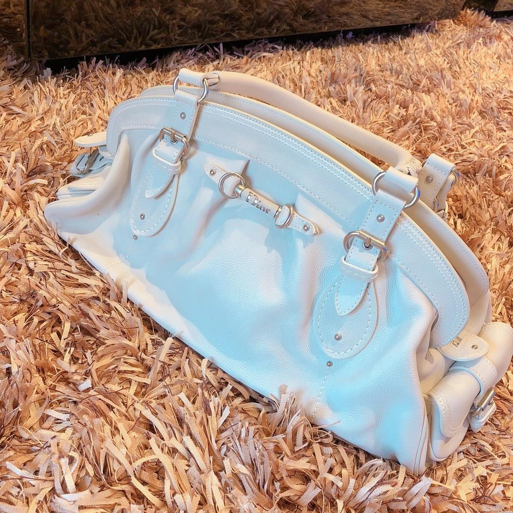 CHRISTIAN DIOR迪奧 米白 白色 真皮 皮革手提包 專櫃正品 肩背包 編織把手 經典包