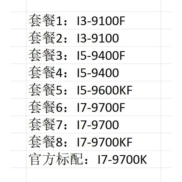 ET№I3-9100F I5-9400F 9500 9600KF I7-9700F 9700KF I