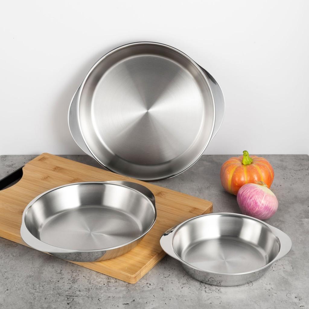 出口矮款304不銹鋼一體成型厚煎盤烤盤食物加熱鍋可烤箱明火電爐