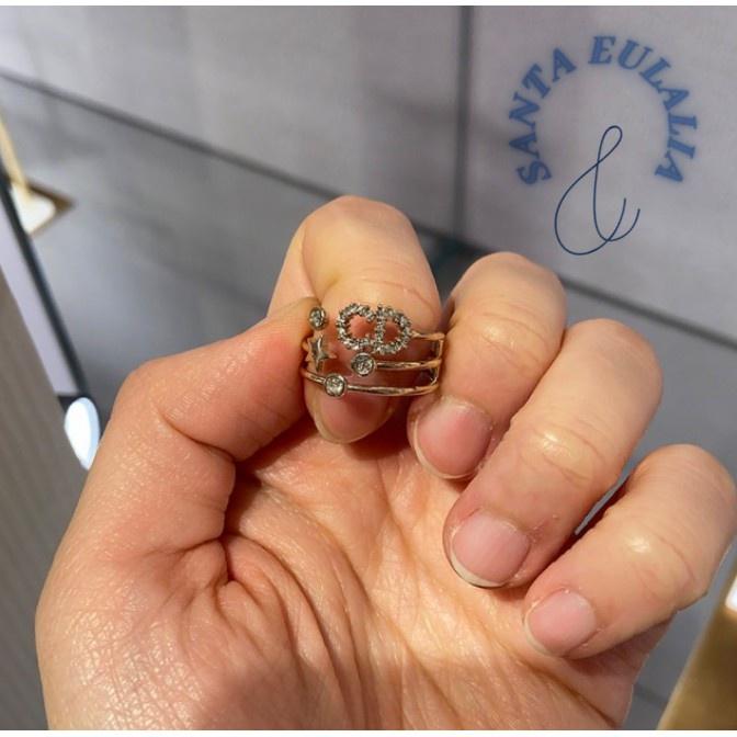 『YY二手』Dior 迪奧 三重閃亮 D環 戒指 SHINY-D RING R0566SYDCY_D301 現貨