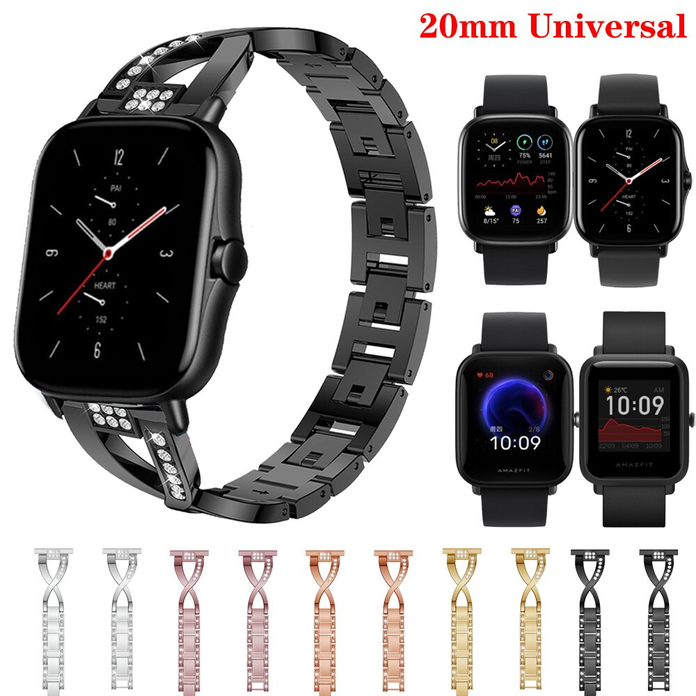 華米Amazfit GTS2不銹鋼錶帶/gts2mini /Amazfit Bip U手錶帶更換金屬錶帶 GTS2手鍊