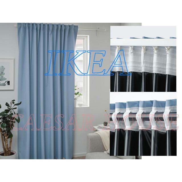 ╭☆凱薩小舖☆╮【IKEA】 BENGTA 完全遮光窗簾 1件裝, 藍色-門簾 簾子
