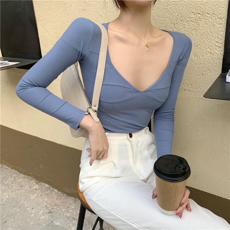 4色入 低胸性感大v領針織衫 緊身長袖T恤 彈力低領針織上衣
