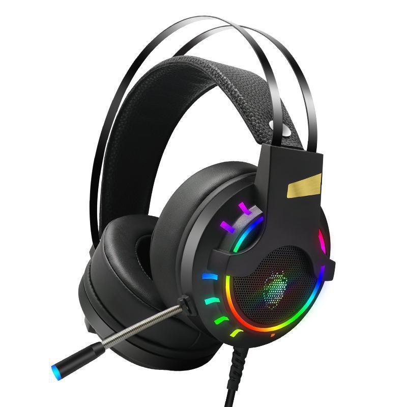 吃雞游戲頭戴RGB七彩發光耳機 抗噪重低音有線耳機帶耳麥