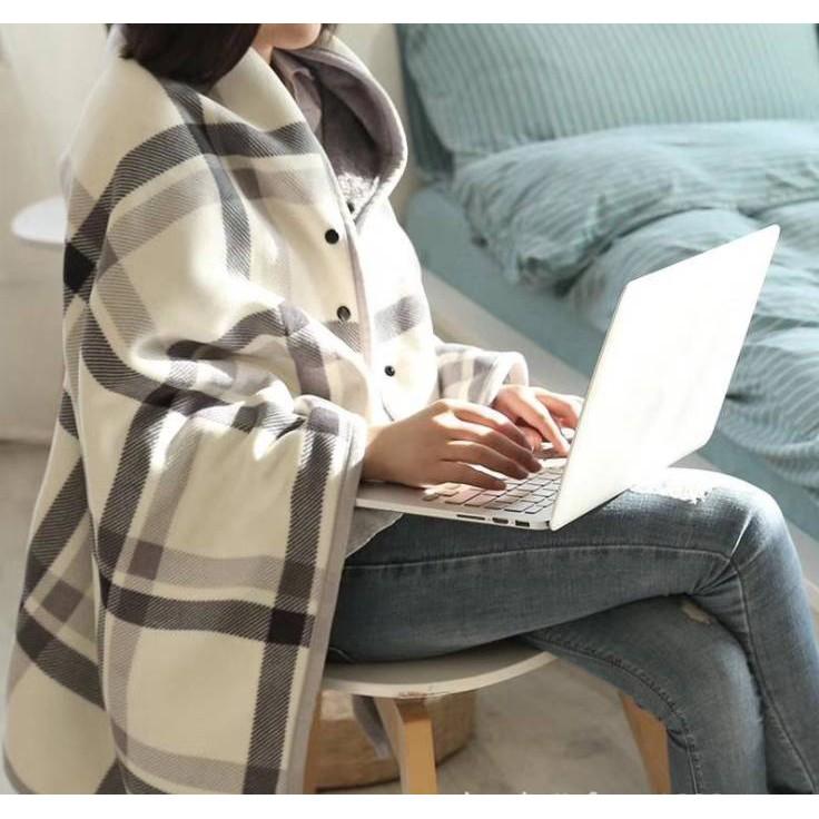 多功能法蘭絨披肩保暖毯