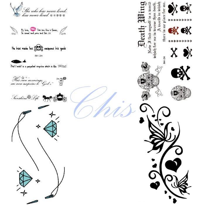 Chis Store fn【彩色個性刺青貼紙】韓國男女性感小清新原宿風 蝴蝶 愛心 鑽石 骷髏頭 英文字母 防水紋身貼紙