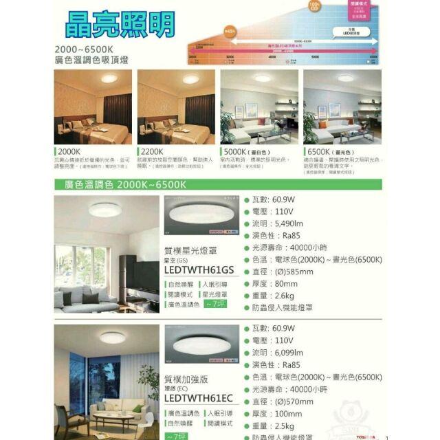 晶亮照明~TOSHIBA 東芝 60.9W LED 遙控吸頂燈 經典 LEDTWTH61EC