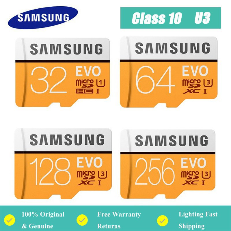 三星Evo存儲卡32GB / 64GB / 128GB / 256GB / 512GB Micro SDXC C10 U