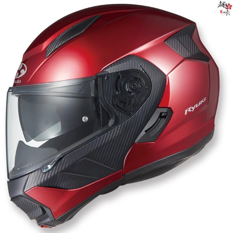日本進口OGK Ryuki揭面盔雙鏡片電動車頭盔碳纖維SHOEI頭盔四季【趣味】