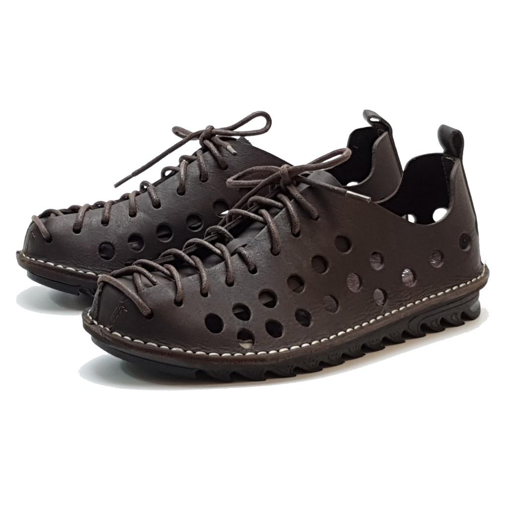 MIT真皮男鞋 休閒鞋 手工 寬楦 - 男洞洞鞋-深咖