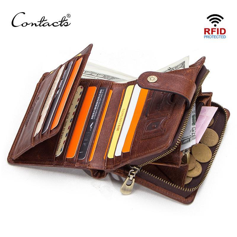 CONTACT'S真皮RFID男士錢包帶零錢包男性卡夾男士錢夾