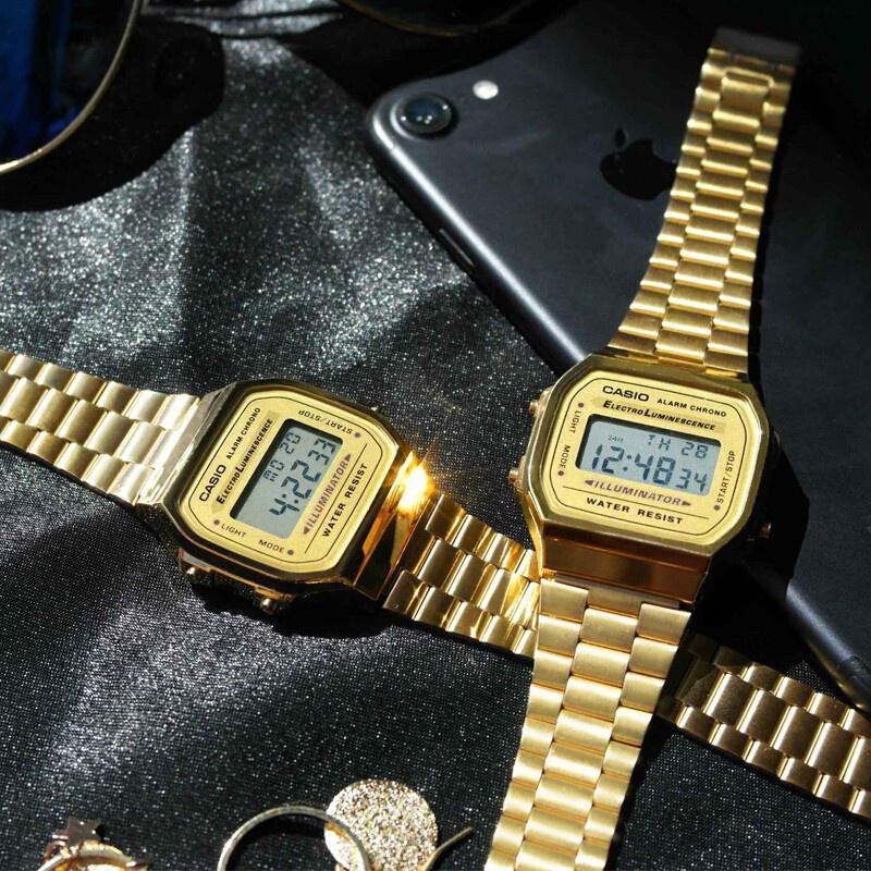 卡西歐男錶Casio手錶 電子錶 反顯電子錶 腕錶女 鬧鈴LED男女同款 數位金色黑色 復古錶 經典潮流 A-168系