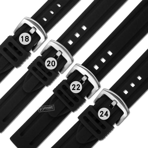 Watchband / 各品牌通用 舒適耐用 輕便 運動型 加厚矽膠錶帶 黑色