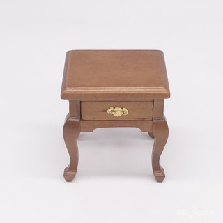 1:12娃娃屋dollhouse迷你家具模型 歐式胡桃木色床頭櫃邊櫃置物櫃琳琳 桃園市