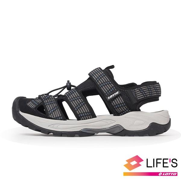 LOTTO樂得義大利第一品牌 男款護趾排水運動涼鞋 [1650] 黑【巷子屋】