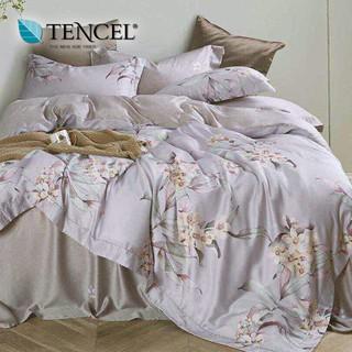 60支100%純天絲TENCEL【雙人 加大 特大組合】規格可選  兩用被床包四件組 七件式鋪棉床罩組 子曲灰 台中市