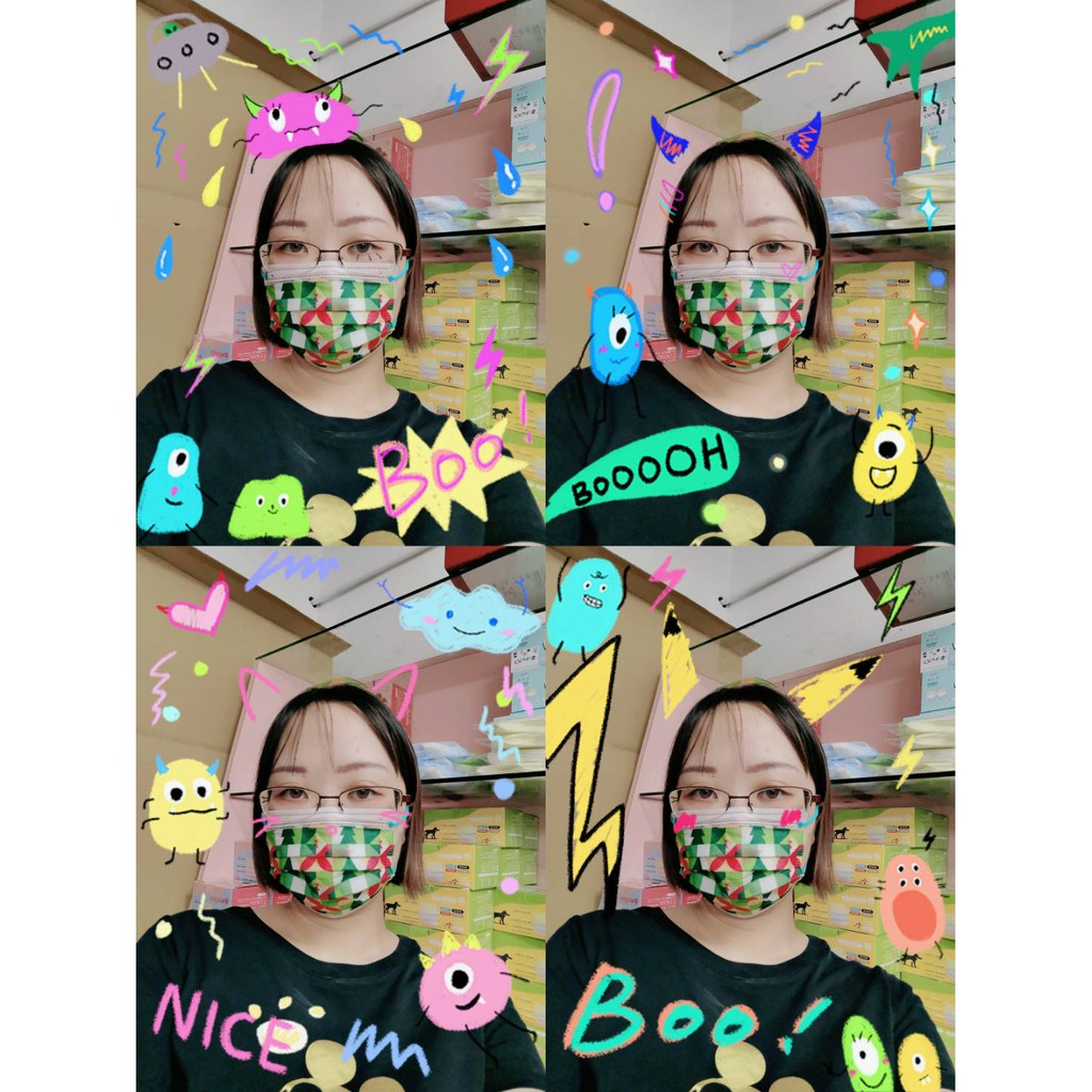 綠色幾何【荷康🍀現貨不用等】丰荷 🇹🇼台灣製造 大童&小臉女生 醫療級MD雙鋼印平面口罩 一盒30入