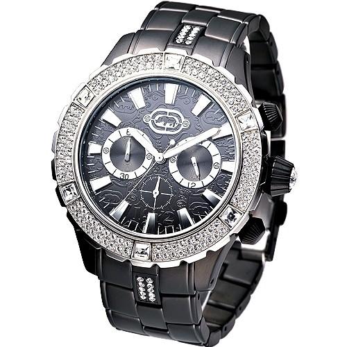 MARC ECKO手錶 E24502G1酷炫大錶徑IP黑晶鑽計時腕錶 廠商直送 現貨