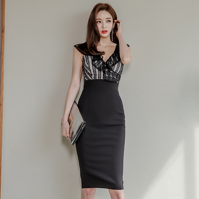 性感洋裝深V顯胸合身洋裝無袖包臀連衣裙及膝宴會禮服