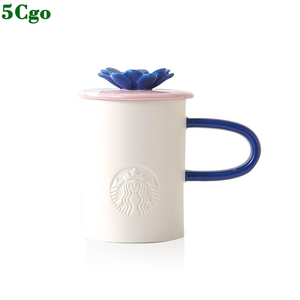 5Cgo【含稅】414ml燦若夏花粉色款馬克杯 簡約帶蓋家用水杯家用公司另有黃色473ml t616610689275