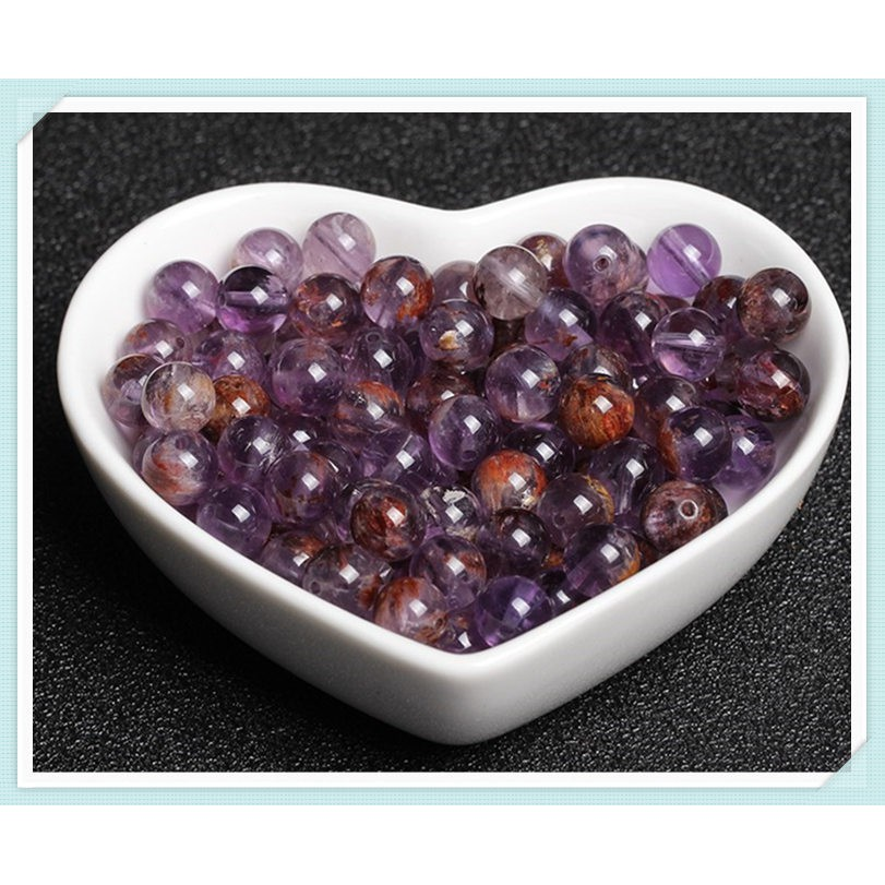 天然 紫幽靈 圓珠 單珠 散珠 9mm 半成品 DIY 水晶 手工 飾品 配件 材料 串珠 配多寶 手串 手鍊 紫鈦晶