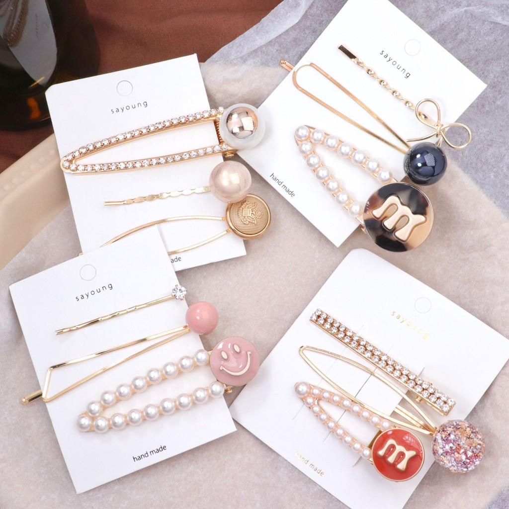 日系可愛髮夾 珍珠鑽石套裝髮夾 韓版套裝一字夾 劉海夾仙女風F109