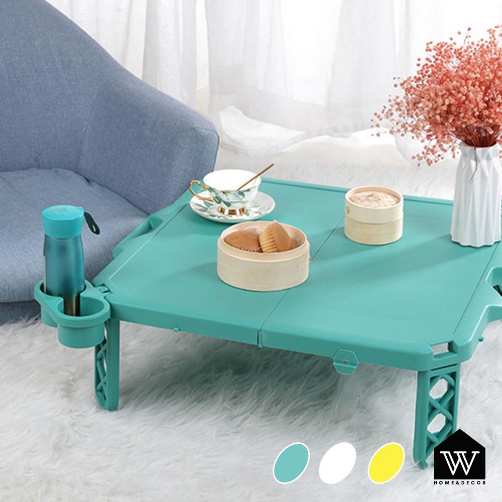 【好物良品】日式戶外野餐露營摺疊桌 多用途超輕露營餐桌 |附杯架  手提把 馬卡龍色