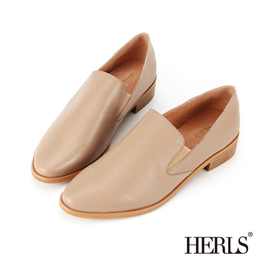 HERLS樂福鞋 品味生活全真皮素面橢圓頭樂福鞋 奶茶色