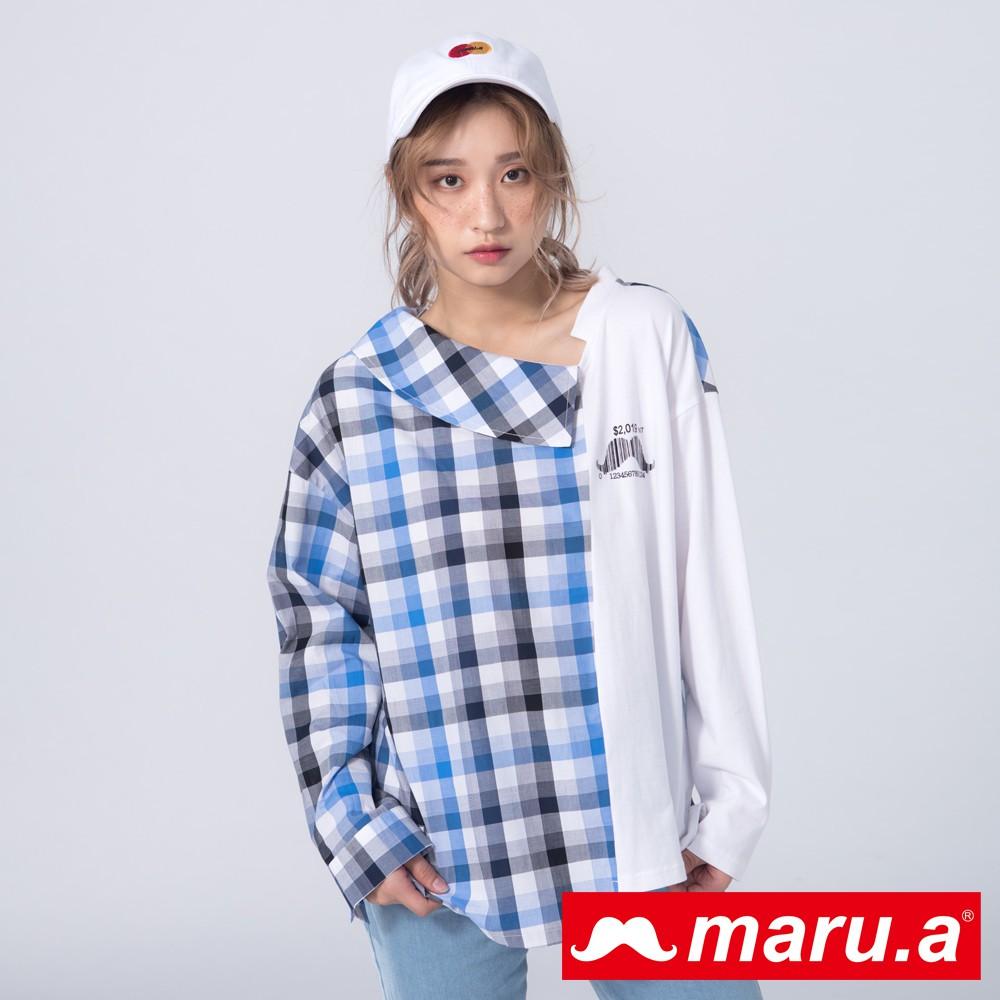 maru.a (99)條碼鬍子不對稱拼接上衣(白色)