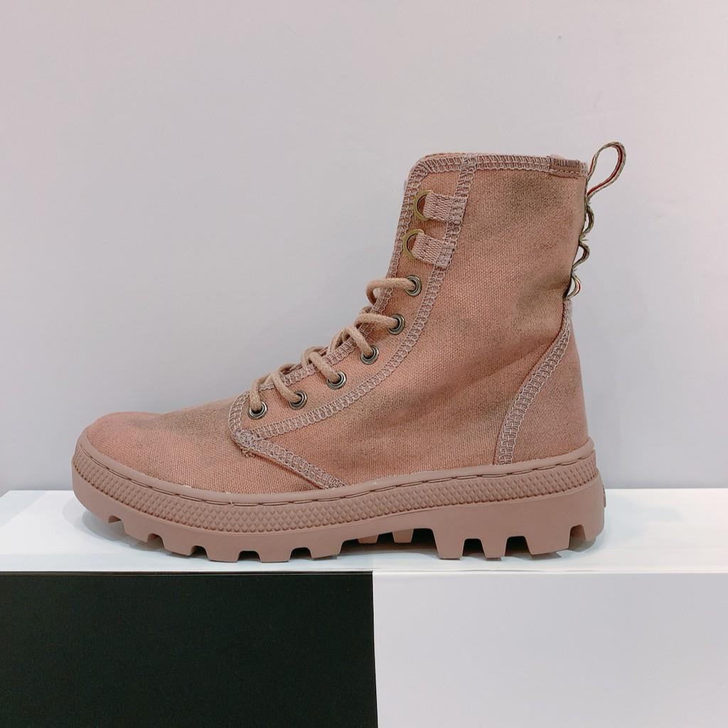 PALLADIUM PALLABOSSE OFF LEA 女生 粉色 牛仔布 高筒靴 96451-248