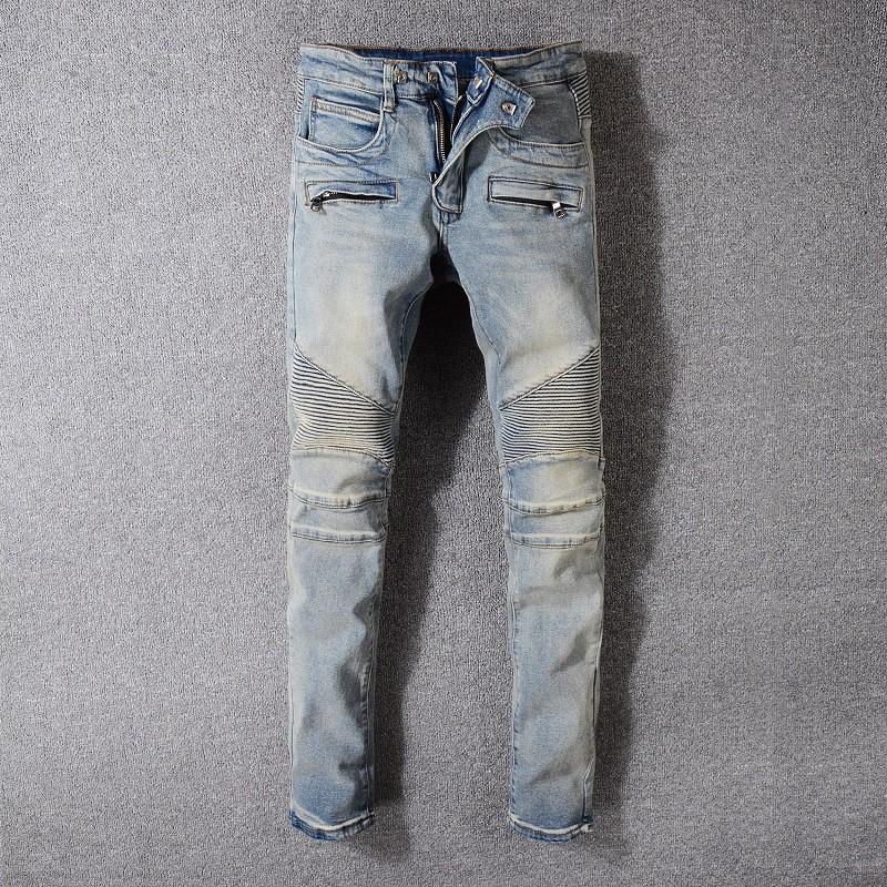 Balmain 巴爾曼牛仔褲男青年修身機車褲 1051