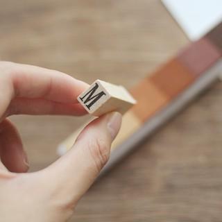 葉米鋪鋪復古木盒裝大寫26個英文字母印章手帳日記相冊DIY裝飾章