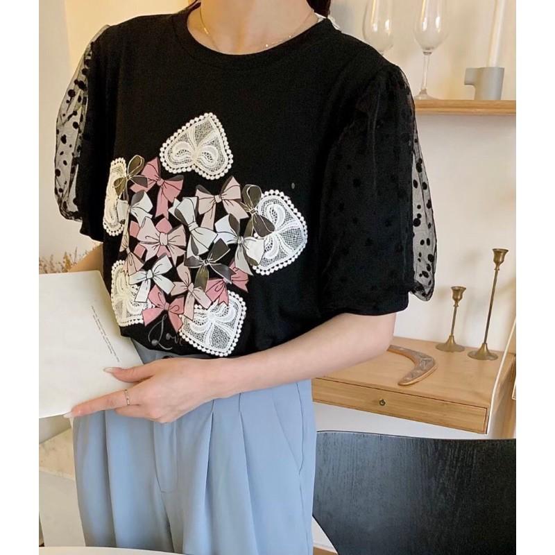 2021.4.8春季新款—♥️愛心蝴蝶結網紗袖棉質上衣。白/綠/粉/黑。4色