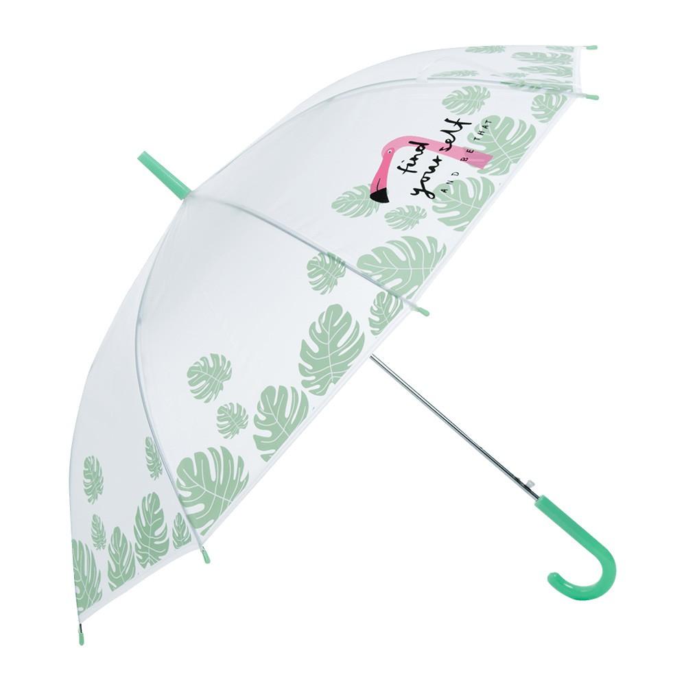 麗尚秀 韓國火烈鳥系列 韓流火烈鳥印花長柄直傘《綠》晴雨傘 太陽傘 遮陽傘 雨傘 防潑水 自動傘 彎把傘【FA289】