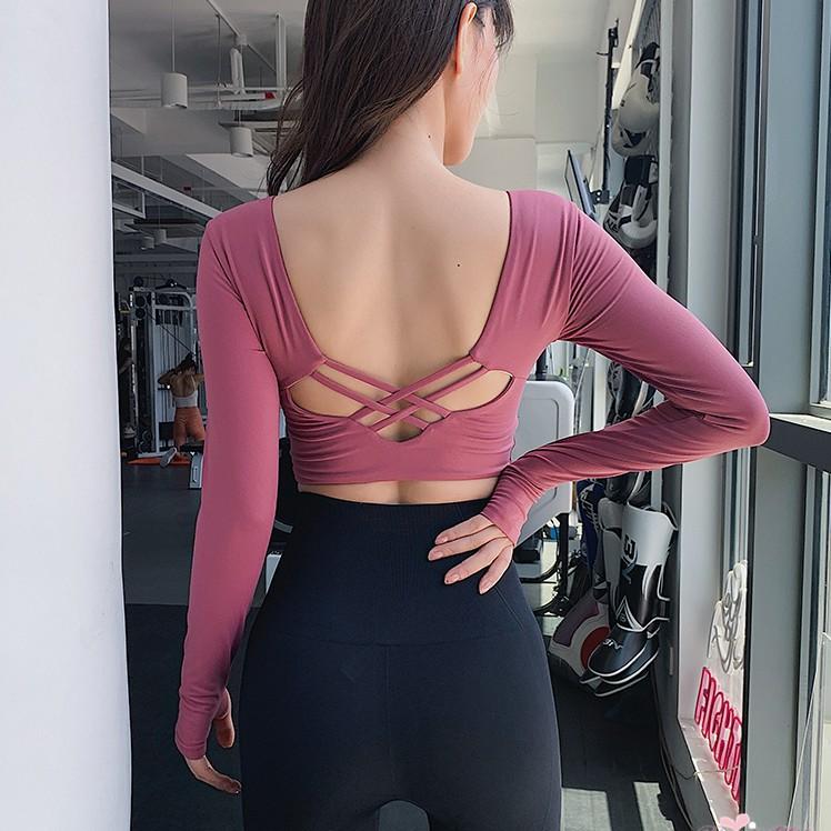 短款性感露臍健身服女緊身彈力速幹跑步訓練長袖瑜伽運動上衣