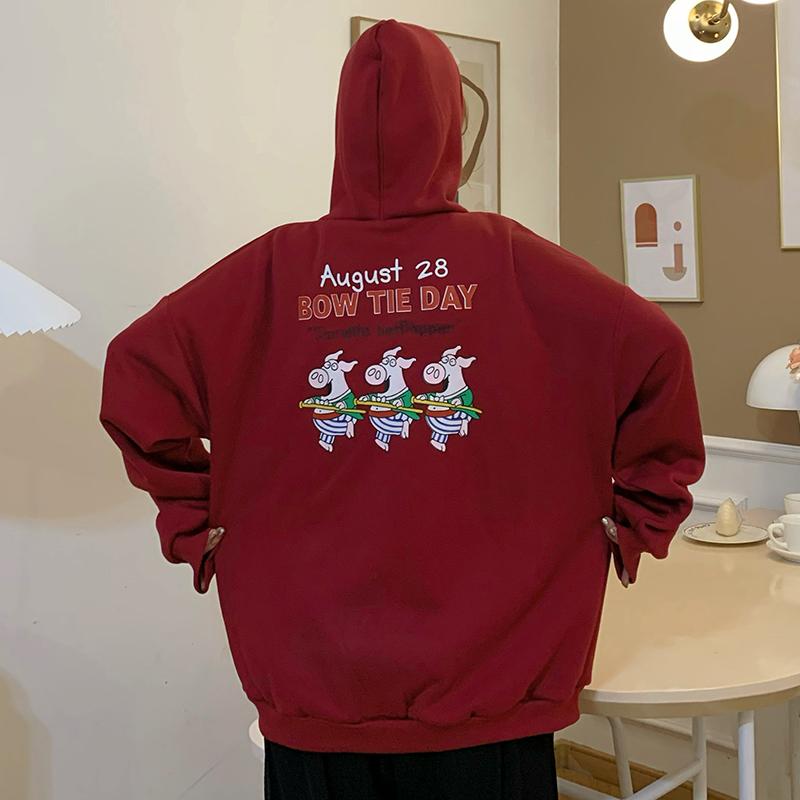 棒球外套 17M216秋冬刷毛韓國ins原宿男友風寬鬆卡通印花拉鍊連帽外套