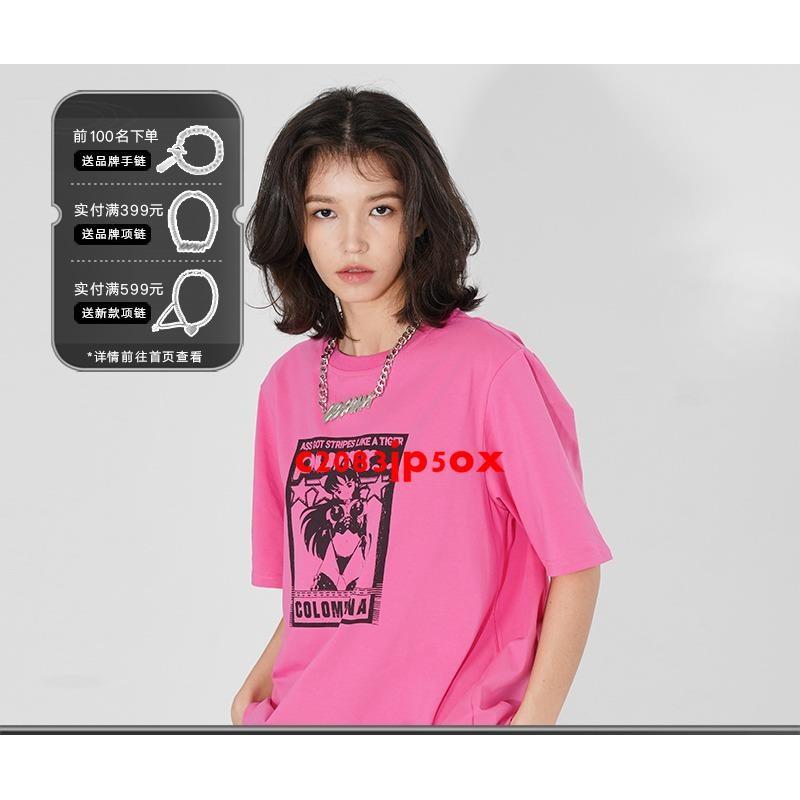 Colombiana美少女動漫卡通印花短袖T恤潮牌半袖體恤情侶CBIANA