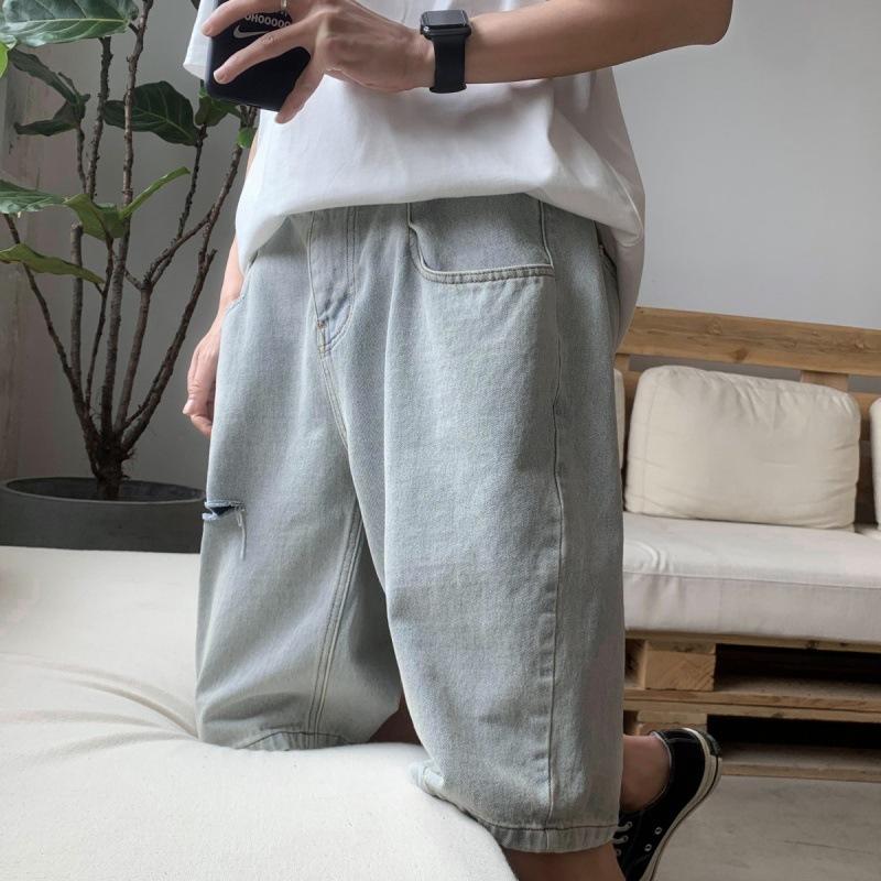 【W*潮文*W】潮牌ins寬鬆牛仔短褲男破洞夏季薄款5分褲中褲超火2020年潮流百搭
