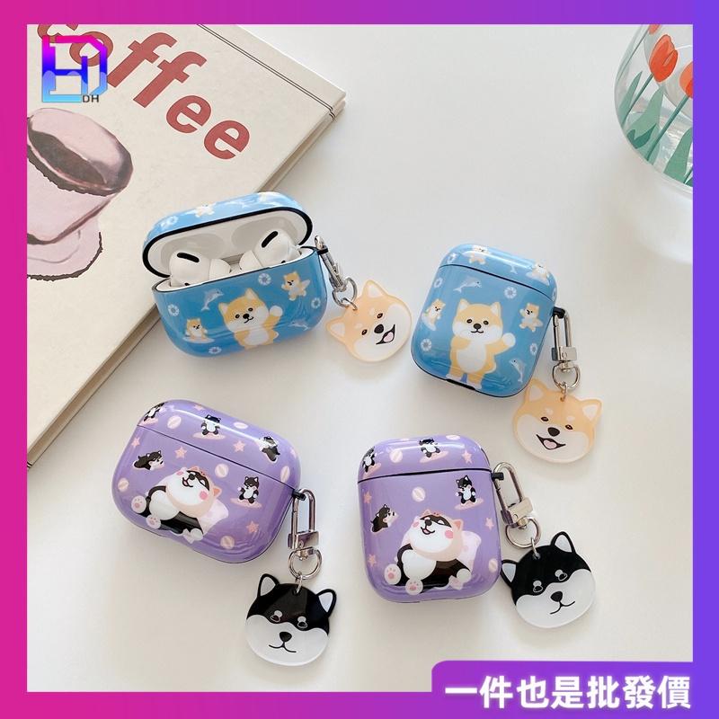 【水晶掛飾新款耳機套】韓版 可愛柴犬 新款airpods pro矽膠保護套 airpods1/2代保護套 藍芽耳機套