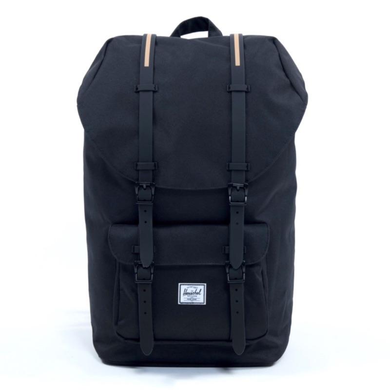 Herschel Little America 大型 黑色 全黑 金色 橡膠帶 大容量 登山包 帆布 後背包 背包 現貨