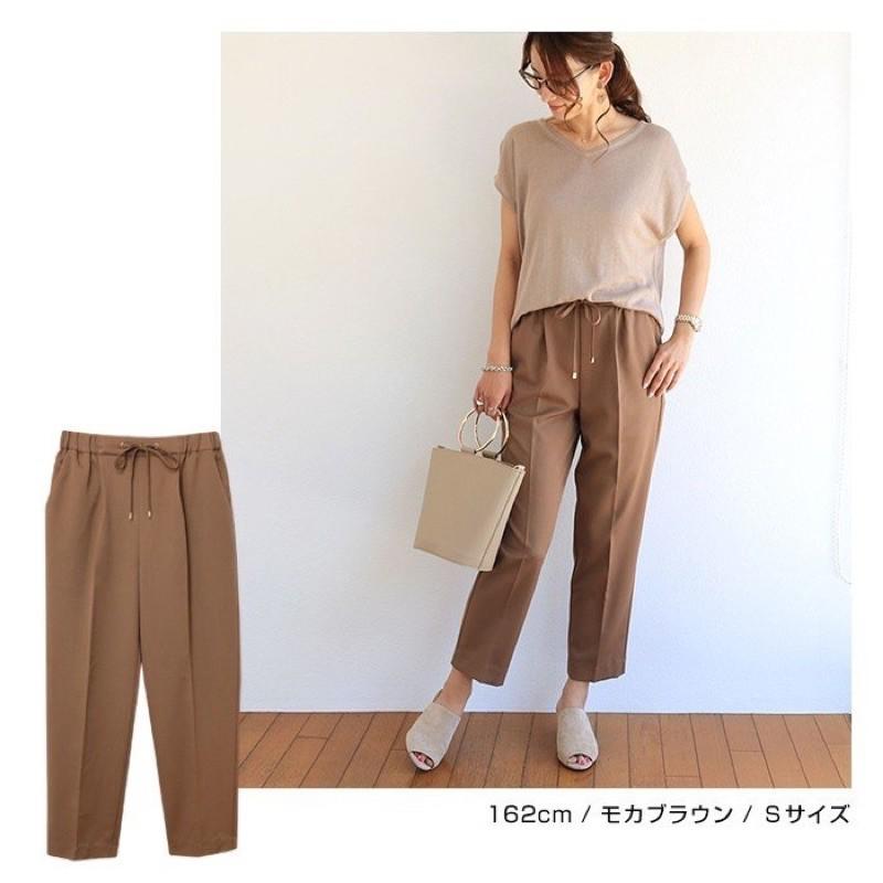 Alma Design氣質簡約錐形鬆緊抽繩綁帶質感褲(咖橘)