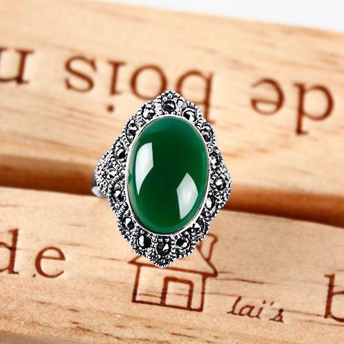 正品泰銀綠玉髓紅玉髓戒指純銀個性復古瑪瑙戒指母親節送媽媽禮物