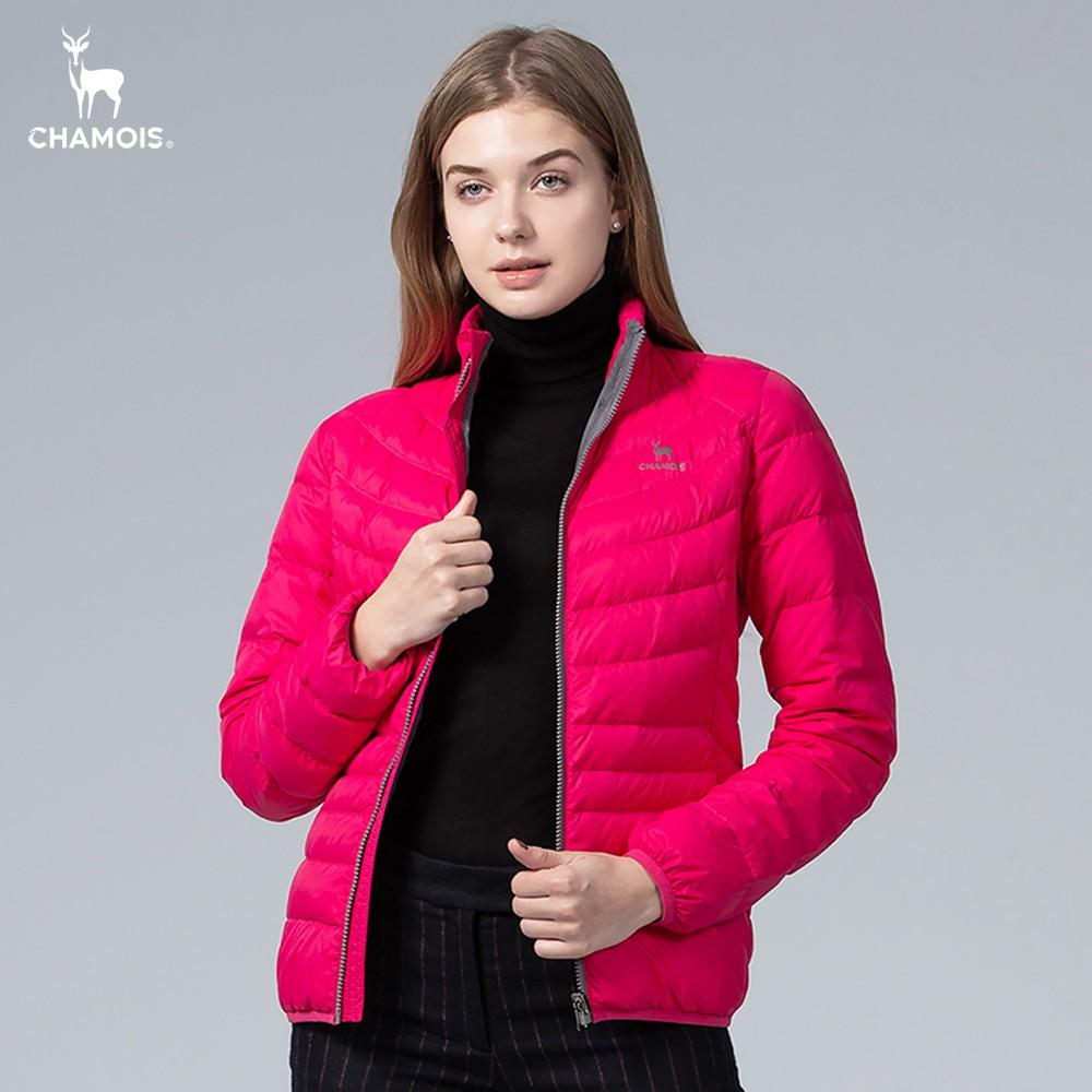 【Chamois加摩仕】時尚立領X型修身羽絨外套(西瓜紅)