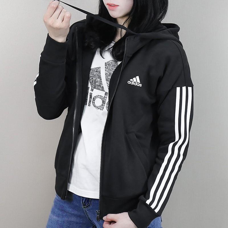 moco Merecer Nacional  S97059 愛迪達Adidas Sport 3 Stripes 黑色白色三線長袖連帽外套棉質女生| 蝦皮購物