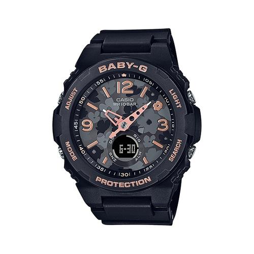 Baby-G 自然風格花卉元素黑色雙顯女錶 BGA-260FL-1A  台灣卡西歐公司貨 保固一年
