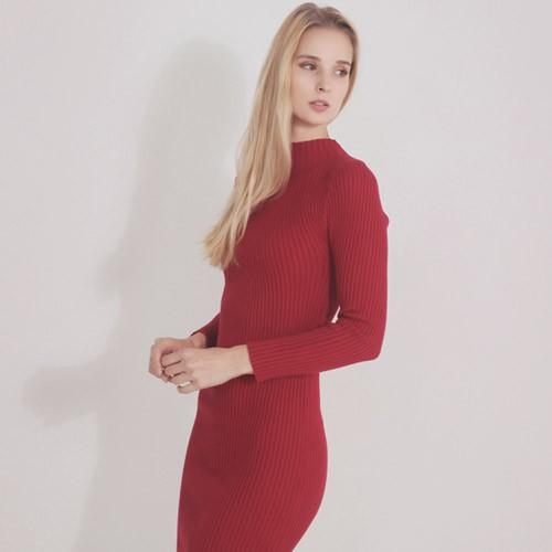 SUPER OLOR韓版修身顯瘦包臀針織洋裝