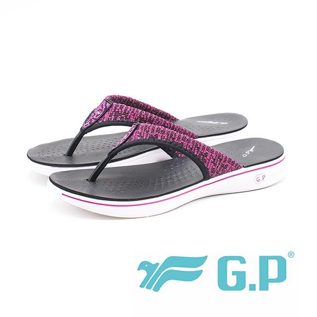 【G.P】極輕量透氣針織背帶夾腳拖鞋 女鞋(白)