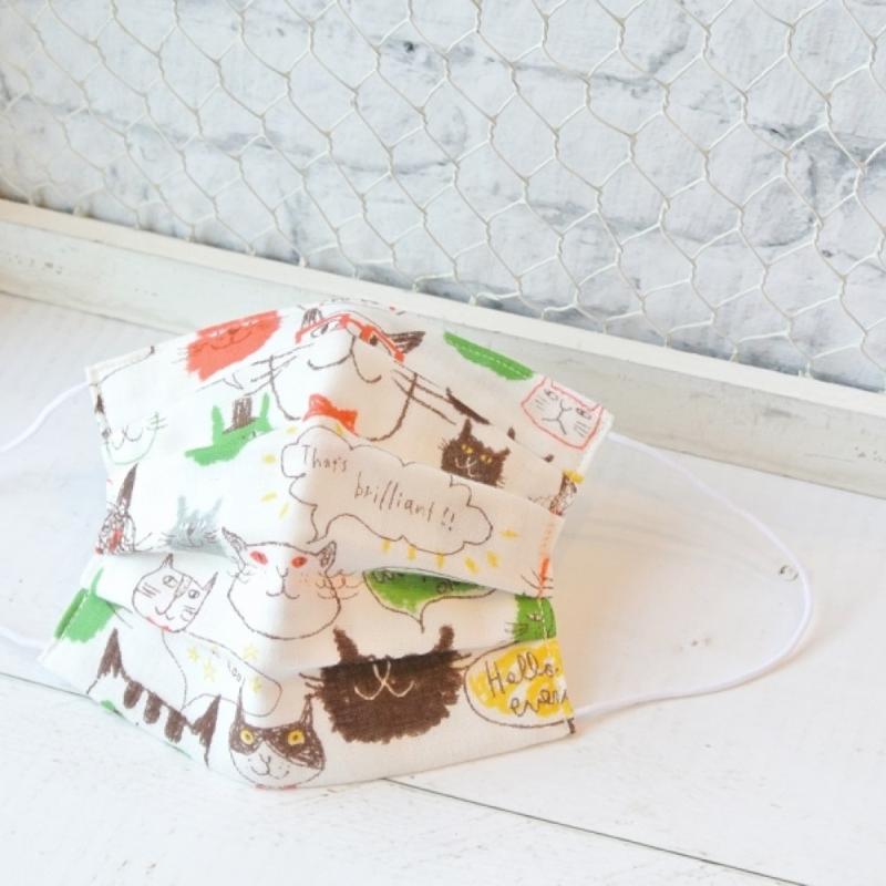 【TEMARIYA】日本製可水洗—兒童手工立體口罩7.5X12(塗鴉貓咪/綠)