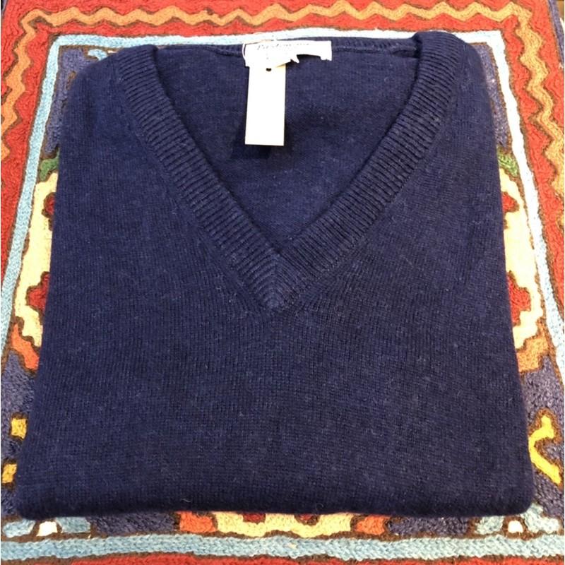 喀什米爾V領羊毛衣.100%手工羊毛衣.Cashmere.Pashmina 羊毛衣溫暖您的心~深藍(L)