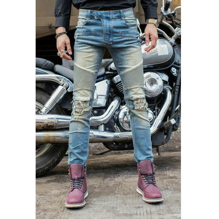 ㊣②【現貨實拍】BALMAIN JEANS牛仔褲 巴爾曼破洞牛仔長褲 男士破刷牛仔褲 直筒修身 丹寧牛仔長褲1206